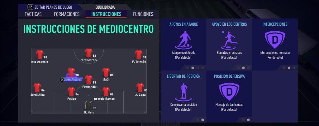 Instrucciones de Mediocentro Fifa 21